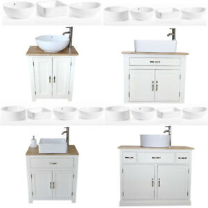 Bathroom Vanity Unit Off White Cream Oak Top Sink Cabinet Ceramic Basin Ebay