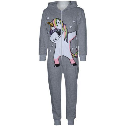 Kids Girls 100/% Cotton Unicorn Dab Grey A2Z Onesie One Piece All In One Jumpsuit