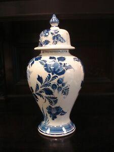 Antike-grosse-Vase-Deckelvase-signiert-handgemalt-orig-Delfts-Blauw-r22