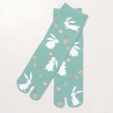 Chaussettes japonaises TABI femme,enfant 34/39 bleu turquoise lapins blancs