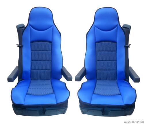 2x cobertor de asiento para camiones-sede funda del asiento protector asientos azul para Renault Premium Magnum