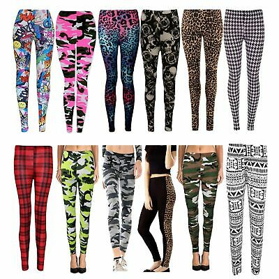 New Ladies Womens Printed Stretchy Skinny Full Length Trouser Leggings Size 8-26