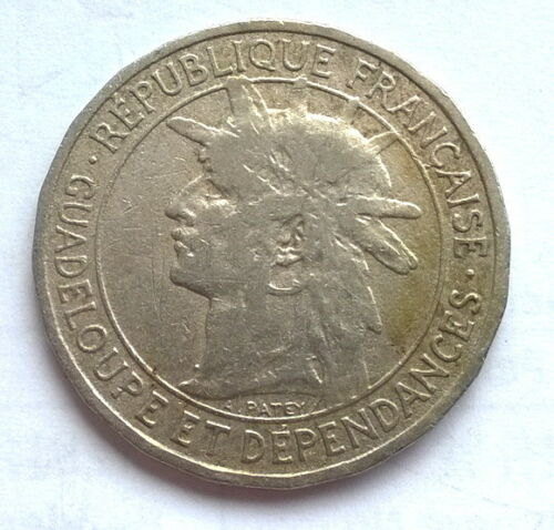 Guadeloupe 1903 Armored 1Franc Coin