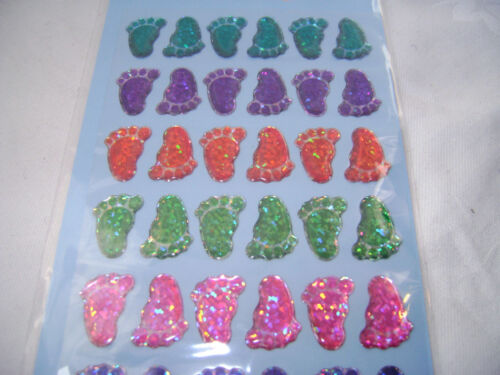 NEW 42 CRYSTAL HOLOGRAPHIC GEL CRAFT STICKERS COLOURFUL FEET SUPREME
