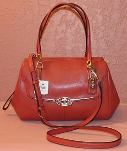 Leather25169 Small Nwt Coach East In Madison Vermillion Satchel Madeline West 8vnONwm0