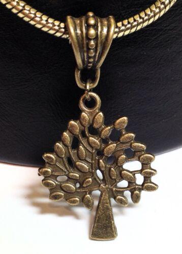 Arbre de Vie /_ Bronze Pendentif pour européen ou Épais Chaîne Collier /_ EARTH Leaf /_ N30