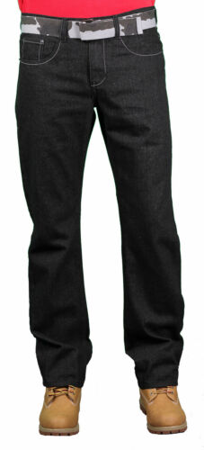 Brooklyn Xpress Men/'s Black Denim Jeans With Camo Belt