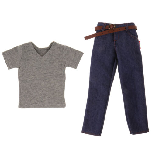 1//6 Short Sleeve and Dark Blue Jeans w//Belt for 12/'/' TC Dragon Figure Body