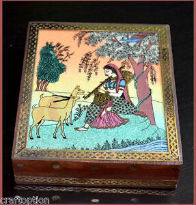Wooden-jewelry-box-with-glass-gem-stone-painting-and-brass-border-from-India