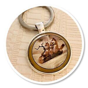 Fox Woodland Winter Foxes Wildlife keyring key ring