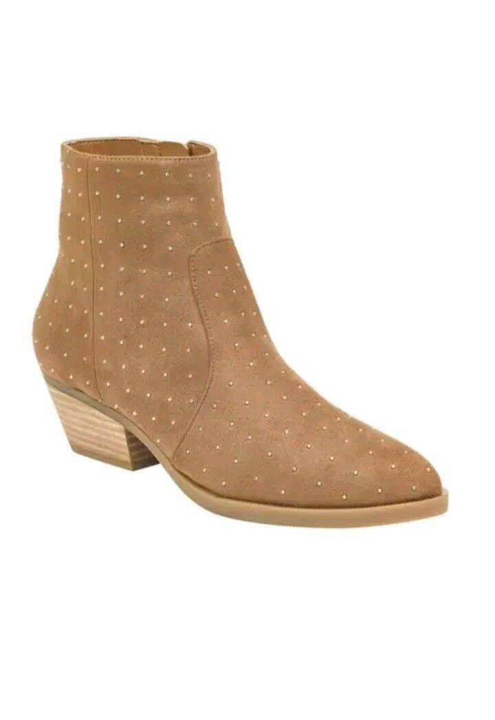 Guess Women's Visen Studded Booties in Medium Brown Size 8M