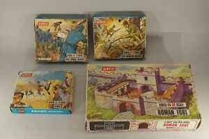 ORIGINAL-VINTAGE-AIRFIX-HO-SCALE-LOT-OF-4-UNOPENED-IN-BOXES-WW-I-ROMAN-FORT-ETC