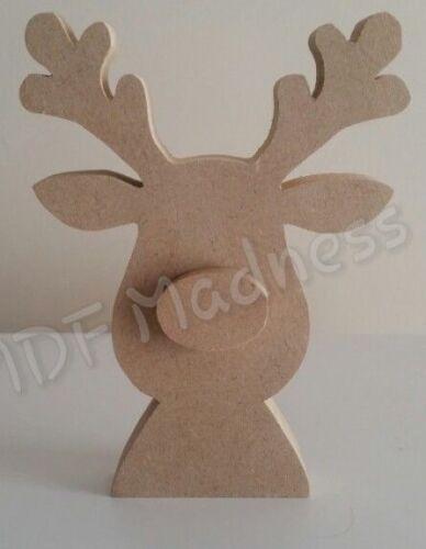 Wooden craft forme noël objet mdf 3D rudolph//renne