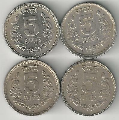 4 Different 5 Rupee Coins From India (all 1995 With Mint Marks Of B/c/h/n) To Win A High Admiration And Is Widely Trusted At Home And Abroad.