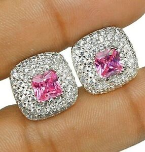 Pink-Sapphire-amp-White-Topaz-925-Solid-Sterling-Silver-Earrings-Jewelry-Z-27