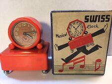 Vintage SWISS MUSICAL ALARM CLOCK With Art Deco ORIGINAL BOX Retro Red Bakelite?