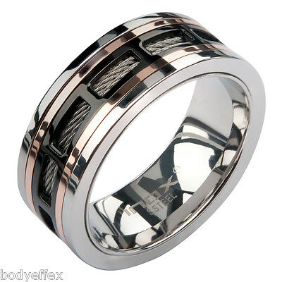 BOLD MENS INOX BLACK & ROSE GOLD IP STAINLESS STEEL CABLE POLISHED BAND RING