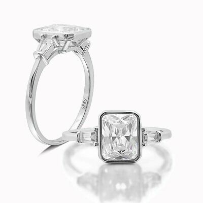 Candra Sterling Silver Emerald Cut CZ Engagement Bridal Ring