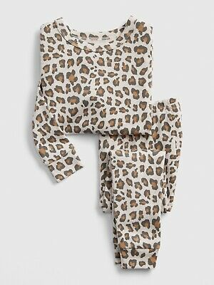 GAP Baby Toddler Girls Size 18-24 Months Natural Leopard Pajamas Sleep Set