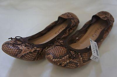 BNWOT Chicas Bailarina SIGUIENTE Marrón Estampado de Leopardo Zapatos Talla 9
