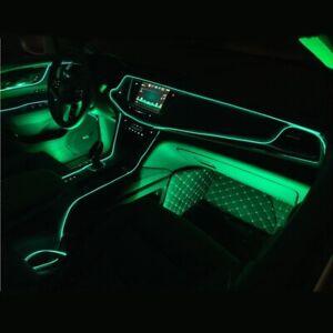 Verde-Coche-LED-el-alambre-ambiente-interior-Tira-de-Luz-Lampara-De-Neon-Glow-Decoracion