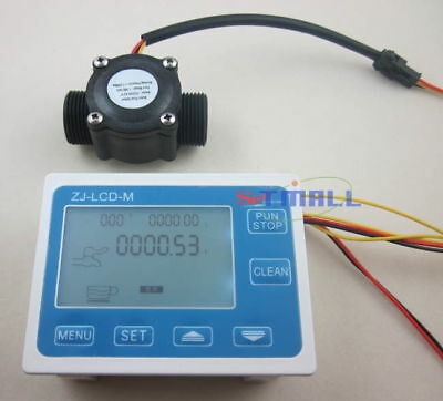 "G3//4/""  Flow Water Sensor Meter+DigitalLCD Display Quantitative Control 1-60L//min"