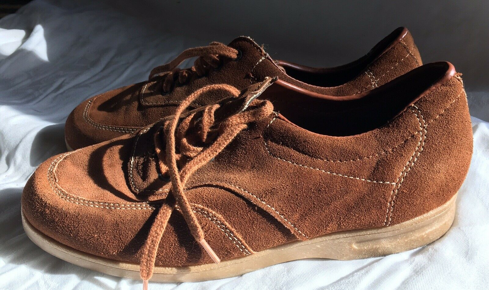 Vintage Mens Rust braun Hipster 70s Suede Leather schuhe Rubber Gum Soles 8.5 USA