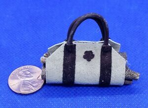 Dollhouse-Miniature-Brown-on-Gray-Leather-Log-Carrier-1-12-Scale