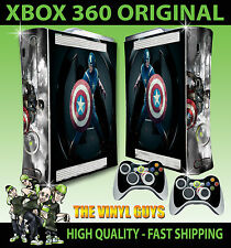 XBOX 360 ORIGINAL SHAPE CAPTAIN AMERICA FIRST AVENGER STICKER SKIN & 2 PAD SKINS
