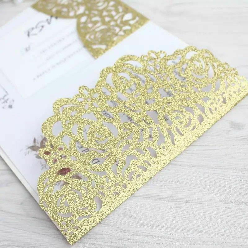 100 xor Personnalisé Découpe Laser Impression Mariage Invitation Carte avec enveloppe