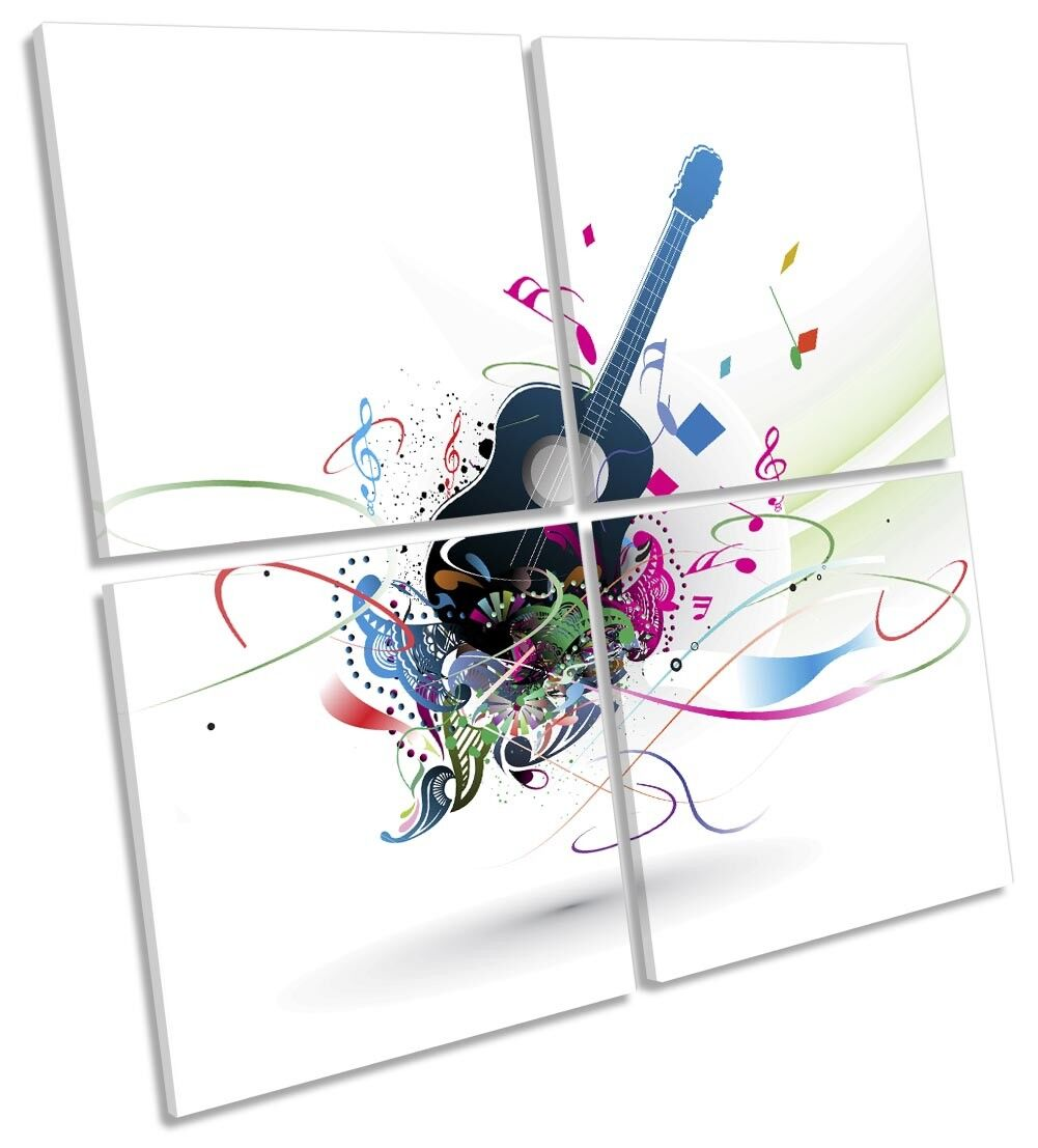 Abstract Guitar Music Picture MULTI CANVAS WALL WALL WALL ART Square f84962