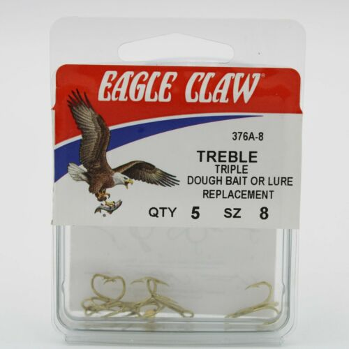 5 Pack Eagle Claw 376A Triple 2X Treble Fishing Hooks Pick A Sz