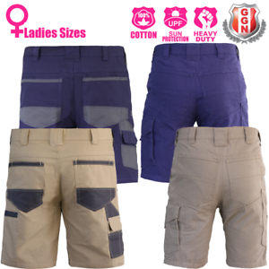 Ladies-Cargo-Work-Shorts-Cotton-Drill-UPF-50-Multi-pockets-Modern-Fit-2-styles