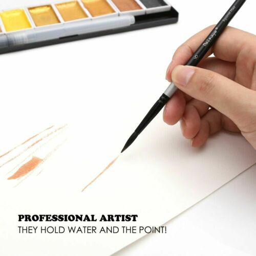 4pcs Black Handle Round Watercolor Brushes Squirrel Hair Art Painting School