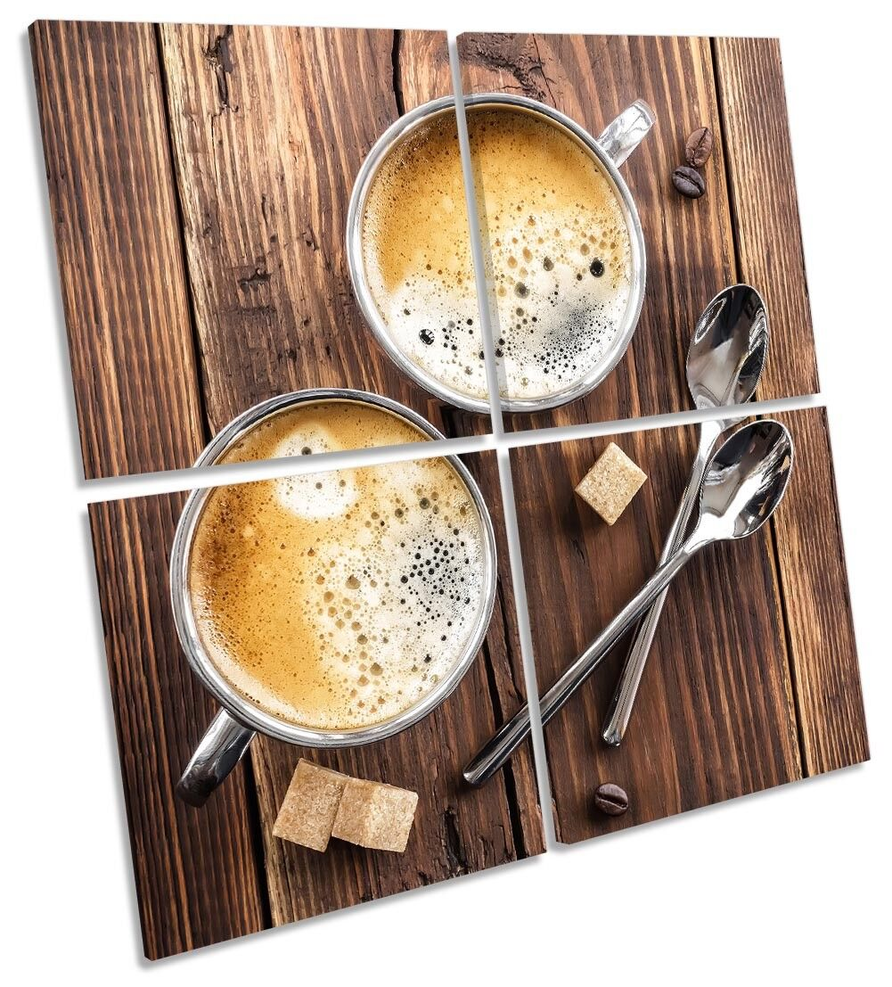 Coffee Wooden Kitchen Picture MULTI CANVAS WALL ART Square