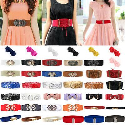 Fashion Women Elastic Metal Buckle Stretch Waist Belt Wide Band Dress Waistband | eBay