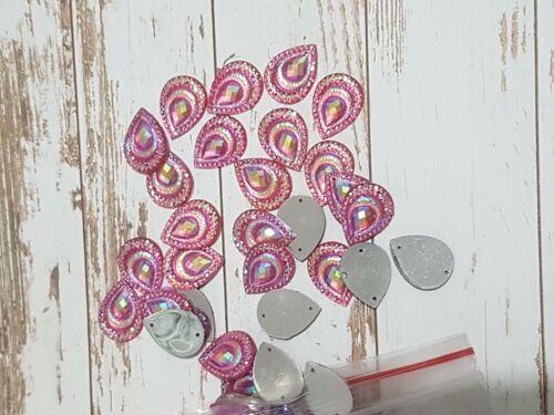 18mm sew on stich on Pink AB JEWEL GEM CRYSTAL RHINESTONE peacock DANCE