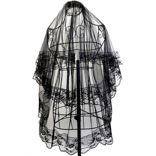 Womens Elegant Vintage Wedding Veils 2 Tier Lace Flower Bridal Veils With Comb