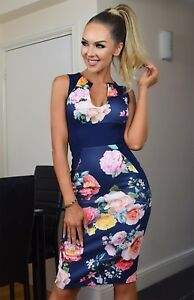 Navy-Pink-Yellow-Floral-Bodycon-Midi-Wiggle-Evening-Party-Occasion-Pencil-Dress