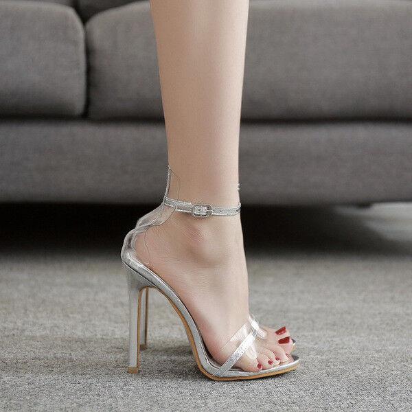 Sandali stiletto spillo 12 cm plata pelle sintetica comodi eleganti  cw993