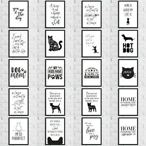 Cat-Dog-Animal-Pet-Lover-Wall-Quote-Art-Print-Room-Home-Decor