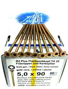 R2-Plus-Flachsenkkopf-5-0-x-100-mm-Torx-25-Stahl-verzinkt-200-Stk