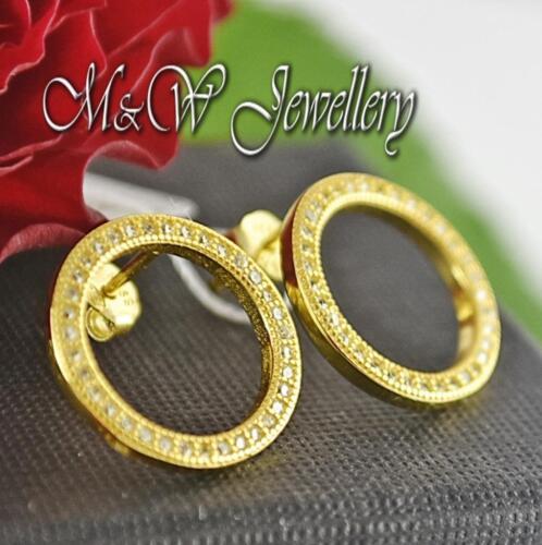 Chapado en Oro 925 Plata Aretes círculos con Zirconia Blanco