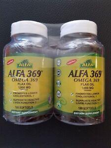 Alfa Vitamins 369 Omega 3 6 9 Flax Oil 1000 Mg 2 X 100 Softgels