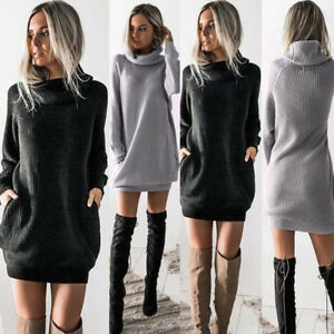 New-Women-Chunky-Knitted-Sweater-Dress-Roll-Neck-Jumper-Shirt-Long-Tops-Knitwear