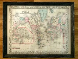 1877-Engraved-Hand-Colored-World-Map-Augustus-Mitchell-Framed-PRISTINE