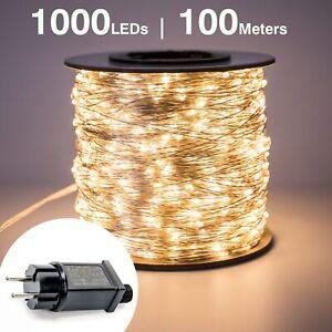 100M-1000-LED-luces-de-cadena-de-hadas-de-alambre-de-plata-Wateproof-Plug-In-Adaptador-Para-Arbol