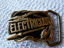 "1980 - VINTAGE SOLID BRASS ELECTRICIAN -- 1 1/4"" DRESS BUCKLE"