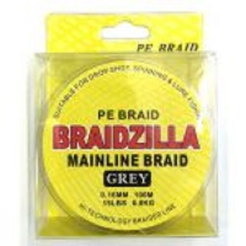 BRAIDZILLA PE MAINLINE BRAID 20lb 100m GREY DROPSHOT//LURE//SPINNING//FEEDER
