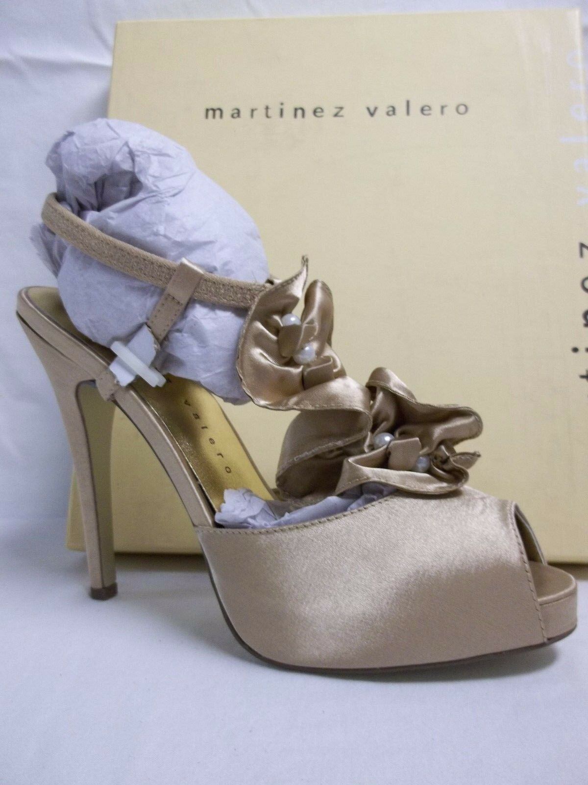 Martinez Valero Size 9 M Obie Nude Satin Open Toe Heels New Donna Shoes
